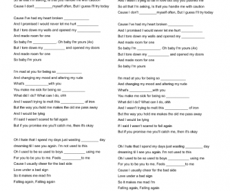 Song Worksheet: I'm Yours by Alessia Cara