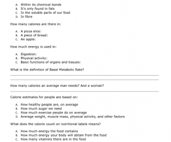 Movie Worksheet What Is A Calorie Ted Video