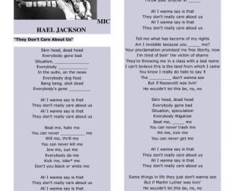 Song Worksheet: They Don't Care about Us by Michael Jackson