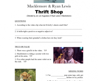 Music Video Worksheet: 'Thrift Shop' by Macklemore and Ryan Lewis