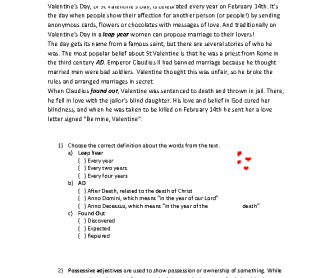 Valentine's Day Worksheet - Reading, Vocabulary, Grammar and Writing