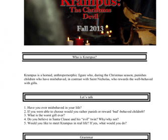 Movie Worksheet: Krampus