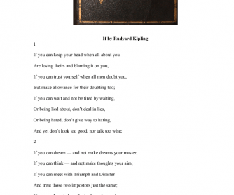 Poem Activity: If by Rudyard Kipling