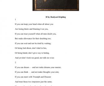 Poem Activity: If by Rudyard Kipling