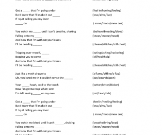 Song Worksheet: Stitches by Shawn Mendes