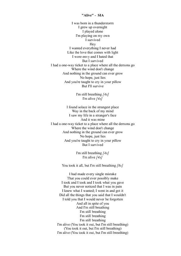 Worksheet: Alive by Sia