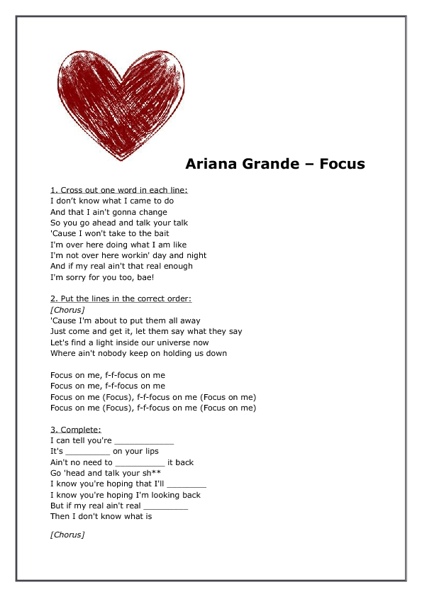 Song Worksheet Focus by Ariana