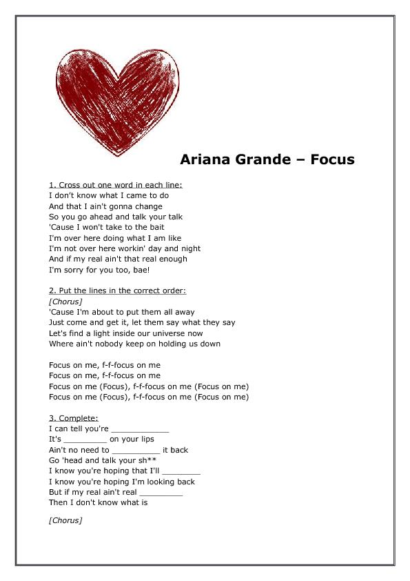 Song Worksheet: Focus by Ariana Grande