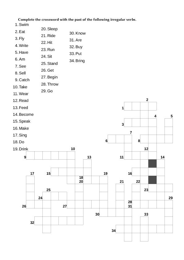 Modular Classroom Crossword ~ Crossword irregular verbs i