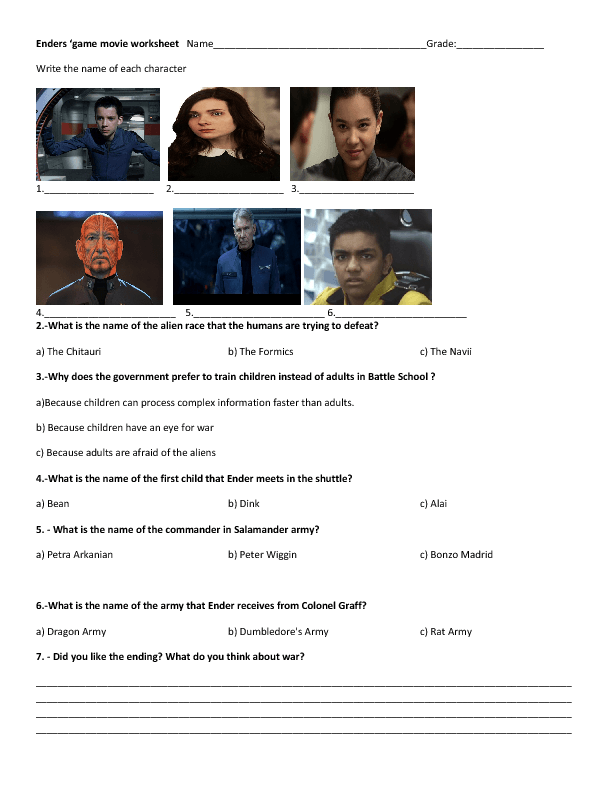 Movie Worksheet: Ender's Game