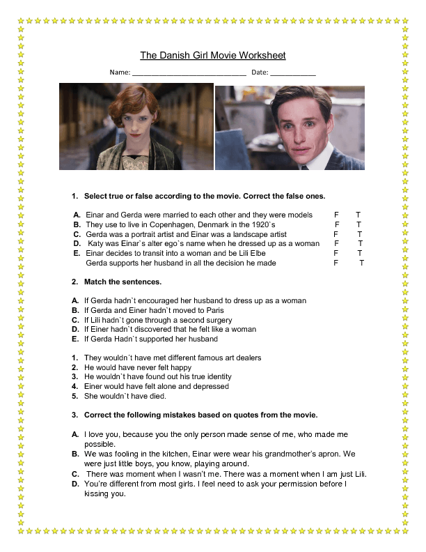 Movie Worksheets For Students : Free past perfect worksheets