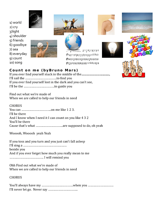Worksheet Count on Me by Bruno Mars Friendship – Lost at Sea Worksheet