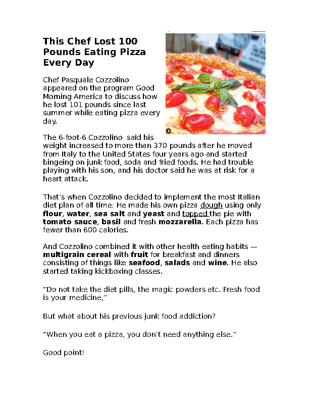 78 free eating habits worksheets reading about the pizza diet forumfinder Choice Image
