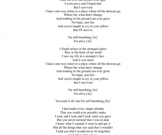 Song Worksheet: Alive by Sia