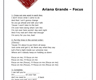 Song Worksheet: Focus by Ariana Grande