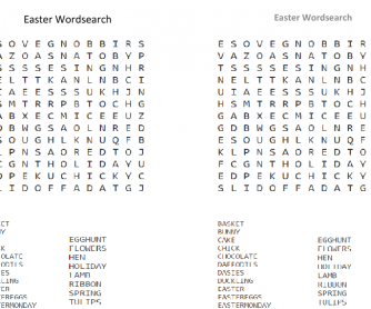 Easter Wordsearch - 19 Words