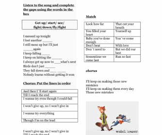 Song Worksheet: Song from Zootopia