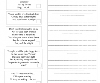 Song Worksheet: England Skies by Shake Shake Go