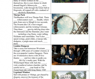 Reading Worksheet: Theme Parks
