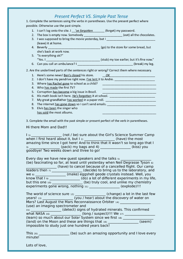 120 Free Past Simple Vs Present Perfect Worksheets