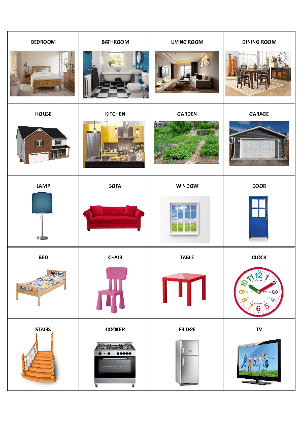 Flashcards House Rooms Pdf