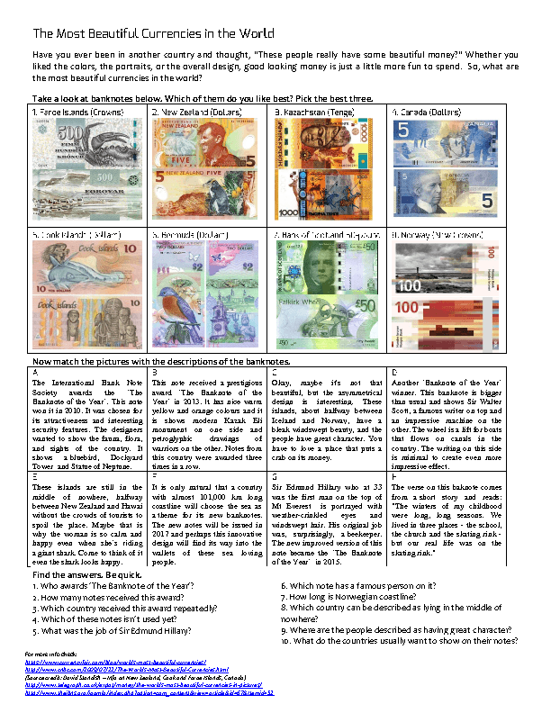 The Most Beautiful Currencies in the World