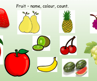 Fruit - Name, Colours, Counting