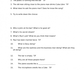 Song Worksheet: The Piano Man