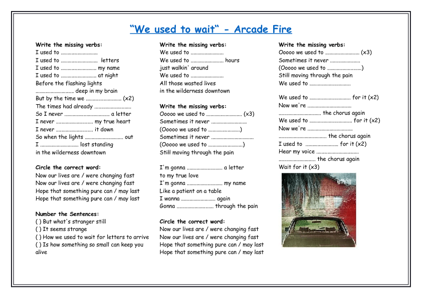 1462124585_we-used-to-wait-arcade-fire Worksheet Past Tenses Pdf on defiant worksheets, continuous tense worksheets, past present worksheets, to be worksheets, learning words worksheets, future tense worksheets, accepting feedback worksheets, accepting criticism worksheets, participle worksheets, trauma recovery worksheets, simple present tense worksheets, conditional mood worksheets, capitalization worksheets, doctors worksheets, present progressive worksheets, past perfect worksheets, was were worksheets, questions worksheets, 7 grade worksheets, subject complement worksheets,