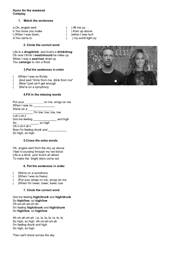 Song Worksheet Hymn For The Weekend By Coldplay