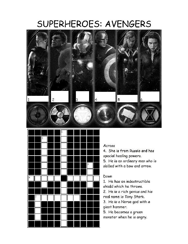 Esl Avengers Crossword