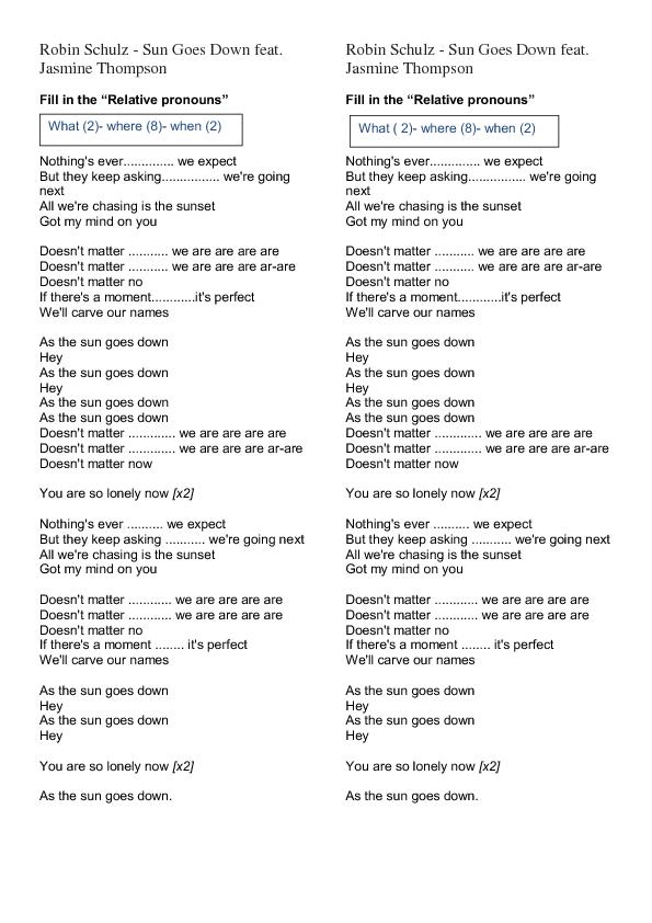 Worksheet Sun Goes Down Relative Pronouns – Relative Pronouns Worksheets