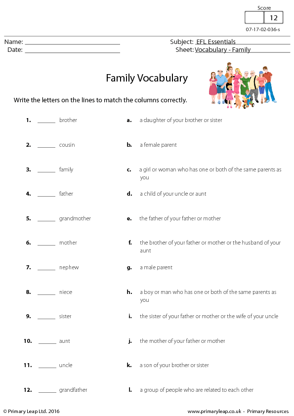 Members English Vocabulary – Circle Vocabulary Worksheet