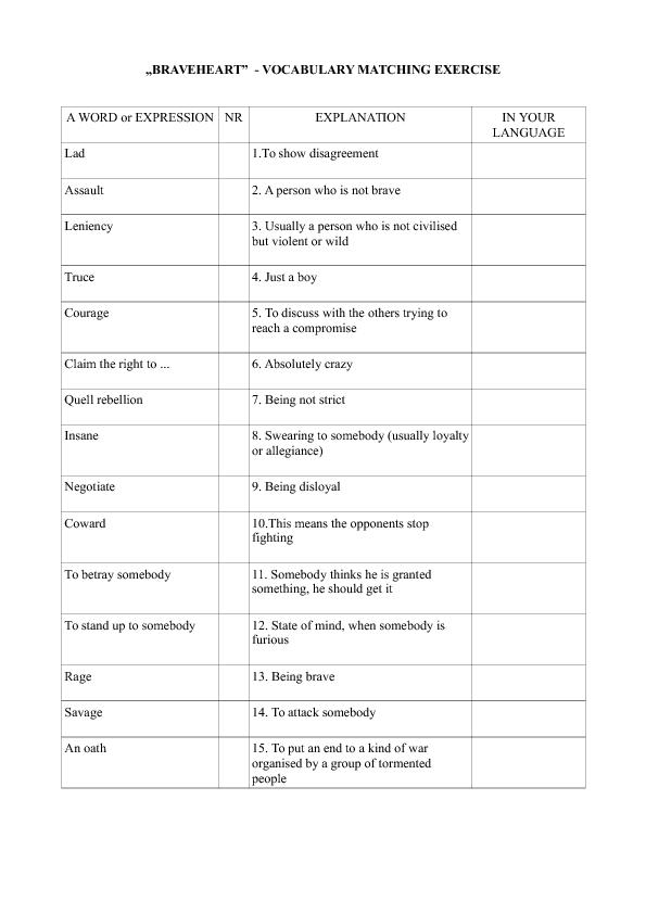 Worksheet Braveheart Vocabulary Matching Activity – Vocabulary Matching Worksheet