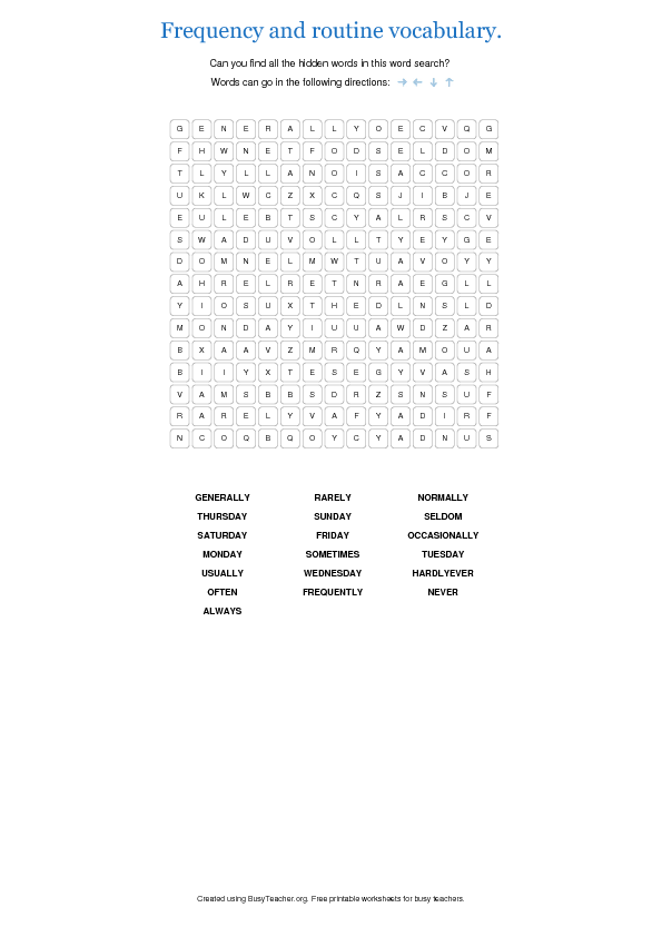 1463967915_frequency-and-routine-vocabulary-0 Worksheet Daily Routine on before after, present simple esl, for grade 2, for kindergarten, for preschoolers, for kindergatern,