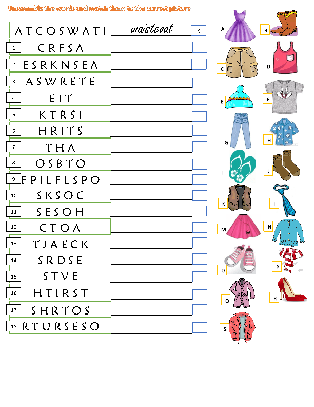 Clothes Unscramble And Match