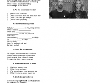 Song Worksheet: Hymn for the Weekend by Coldplay