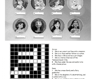 ESL Disney Princesses Crossword