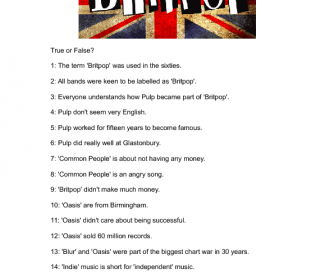 Movie Worksheet: Britpop Documentary