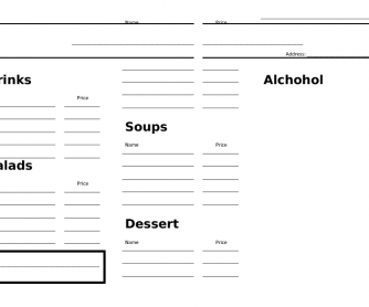Restaurant Menu and Order Pad