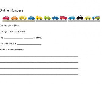 Ordinal Numbers Cars