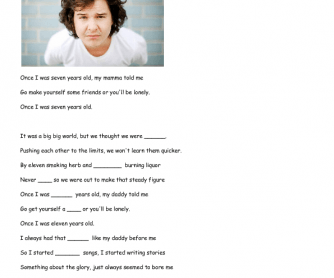 Song Worksheet: Seven Years by Lukas Graham