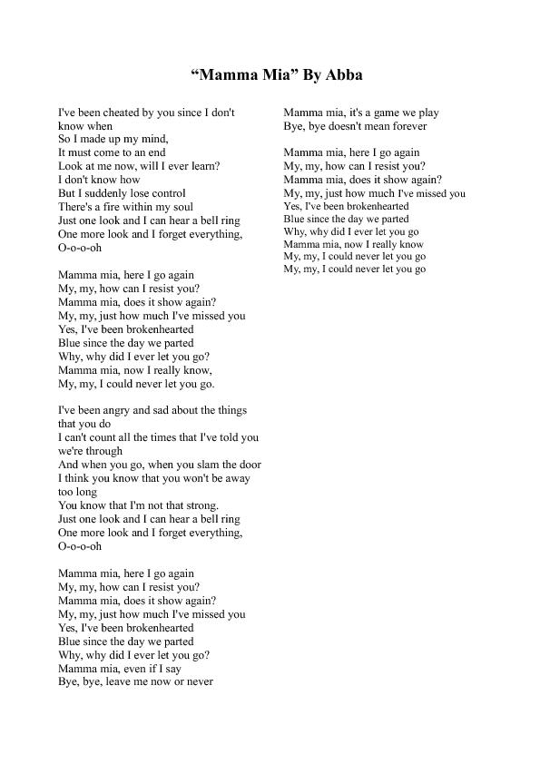 Abba Lieder