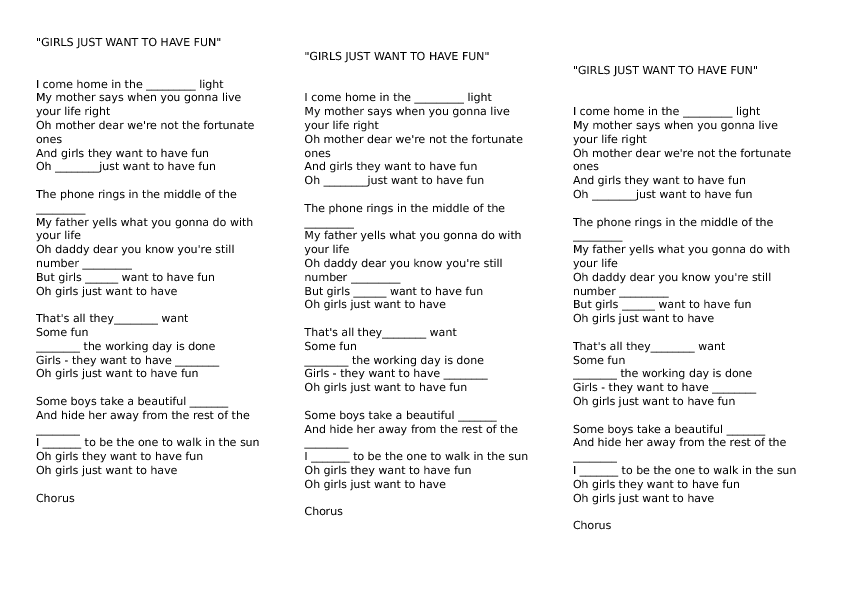 worksheet girls just want to have fun by cyndi lauper song worksheet girls just want to have fun by cyndi lauper
