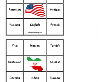 Countries and Nationalities, Bingo