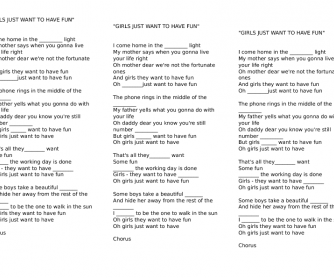 Song Worksheet: Girls Just Want to Have Fun by Cyndi Lauper