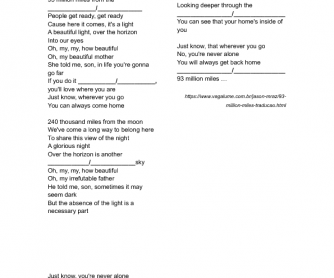 Song Worksheet: 93 Million Miles by Jason Mraz