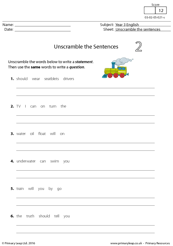 English Resource Unscramble The Sentences 2