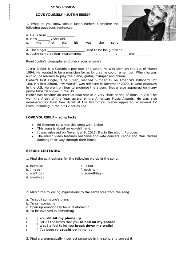Song Worksheet Love Yourself By Justin Bieber