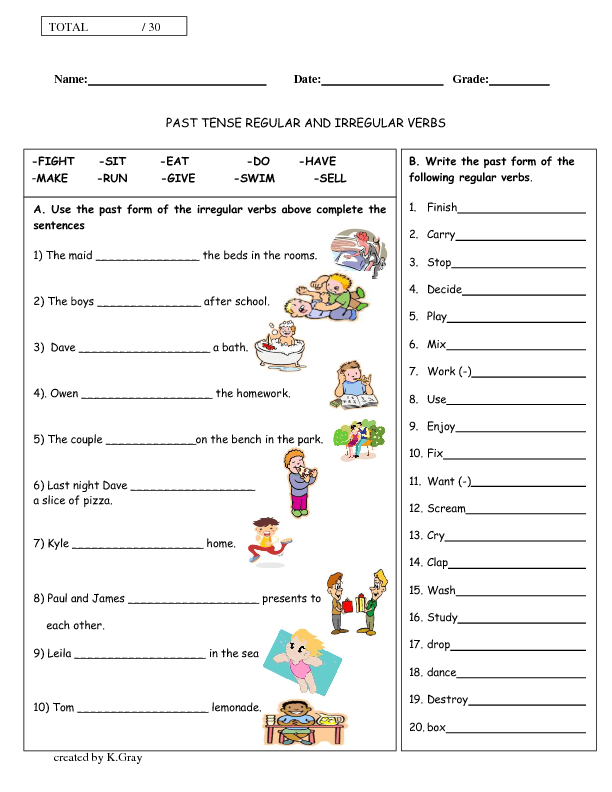 and Irregular Verbs Past Tense – Simple Past Tense Worksheets